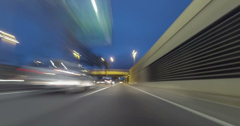 Fast driving for Barcelona. urban tunnels and bypass roads. Time Lapse - vehicle shot - subjective view - 4K.