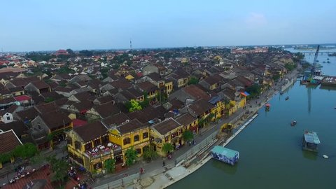HOIAN, VIETNAM - JAN 1, 2016: Hoi An ancient town from highview. Hoian is recognized as a World Heritage Site by UNESCO.