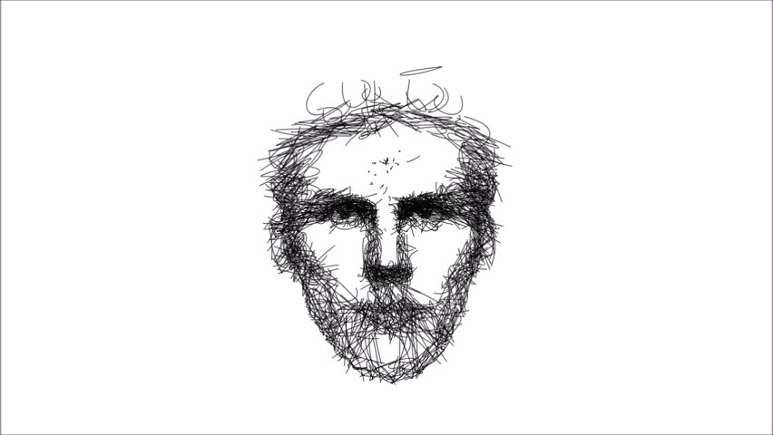 Line Art Portrait : Artistic line drawing animation of a smiling man s face portrait