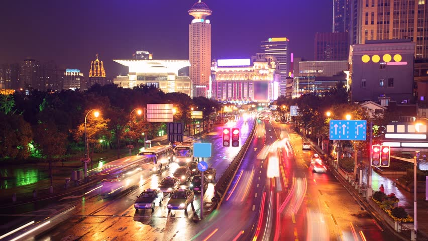 traffic in shanghai at night, time-lapse