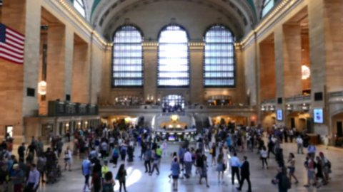 New York Grand Central Station Interior Crowd Footage Window Tourists Architecture Famous Travel Manhattan Landmark Transportation USA Timelapse