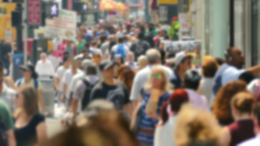 Times Square Crowd Walking New York City Street Blurred Motion Manhattan USA People Tourism Pedestrians Tourists Footage Lifestyle Famous