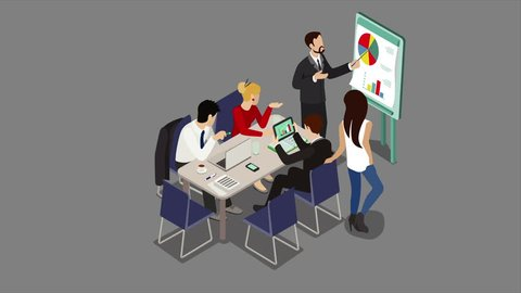 Office meeting room report business collaboration teamwork brainstorming flat 3d isometric cartoon concept 4K video with alpha. Animated businessmen around table.