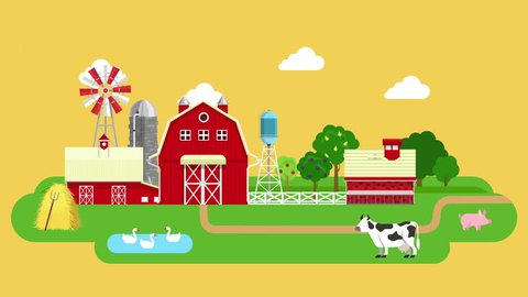 Flat farm video concept. Looped animated cartoon tractor cow goose pig mill.