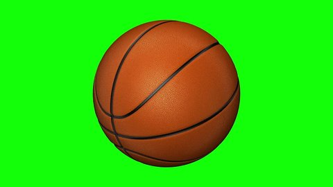 Isolated photorealistic basketball rotating on the green screen. Seamless loop. 4K Resolution (Ultra HD). More options available - check my portfolio.