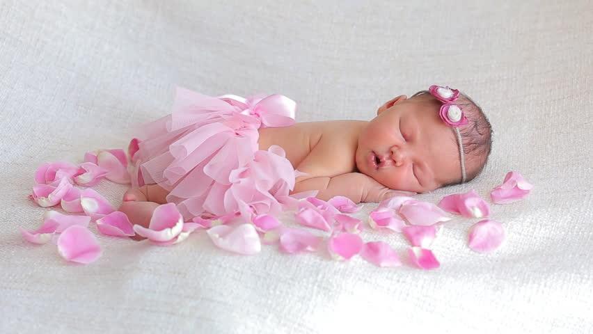 d7dbd4fd82e4 Cute Newborn Baby Girl Sleeping Stock Footage Video (100% Royalty ...