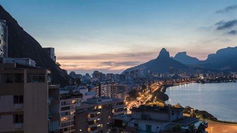 Sunset over Rio De Janeiro Dois Irmaos Mountains, Brazil. Timelapse