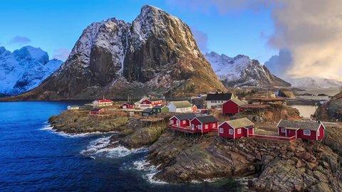 Cinemagraph loop - Reine fishing village in Lofoten Norway - motion photo