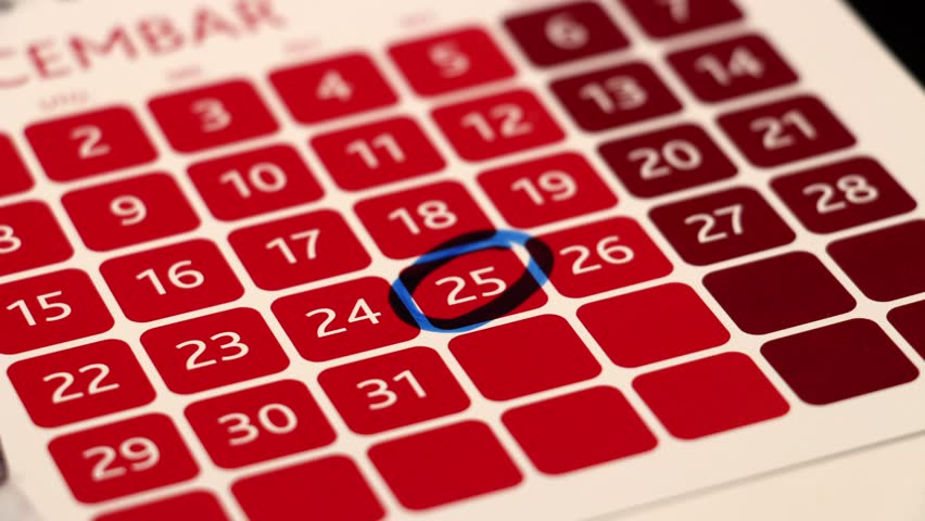Christmas Date.Circled Date In A Calendar Stock Footage Video 100 Royalty Free 14887300 Shutterstock