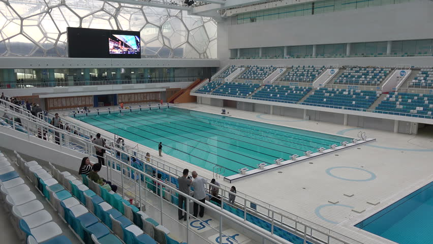 beijing china 14 september 2015 overview of the swimming pool in the water cube one of the main venues of the 2008 beijing olympic games stock footage - Olympic Swimming Pool 2015