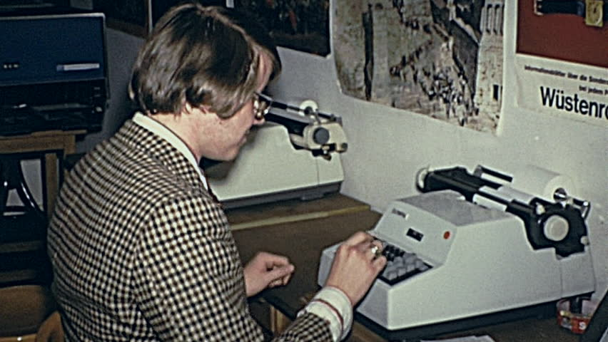 AUSTRIA   1970: Young Man At The Typewriter   HD Stock Video Clip