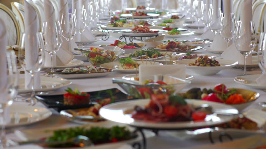 Dishes On The Table In A Restaurant   4K Stock Footage Clip