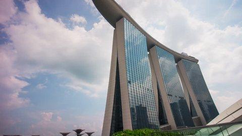 SINGAPORE, SINGAPORE - JANUARY 2016: sunny day famous marina bay sands hotel panorama 4k time lapse circa january 2016 singapore, singapore.