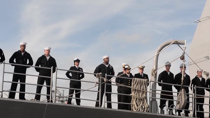 CORONADO CALIFORNIA USA, JANUARY 2016, US Navy USS Mobile Bay Drive Out Harbour Soldiers Deck