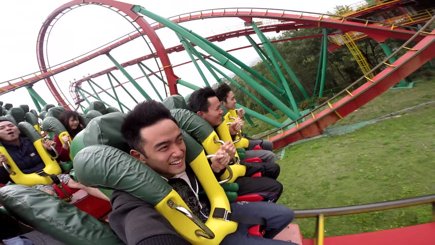Yunlin, Taiwan-24 March, 2015: Asian people in rollercoaster. The roller coaster is also the longest roller coaster in Asia.
