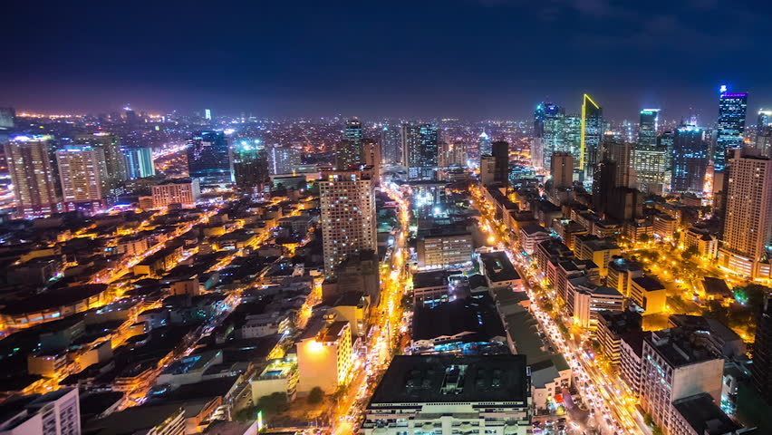 Timelapse of Metro Manila by night, Philippines