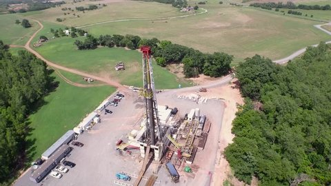 Wide Aerial of Drilling High left to right