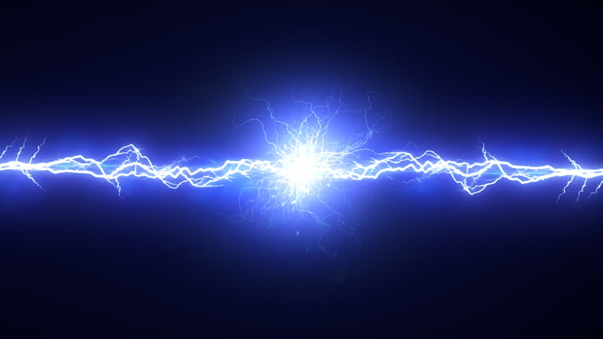 Electric arc on black background. Two lightnings converge at one point. It forms a bright glow. Seamless loop.