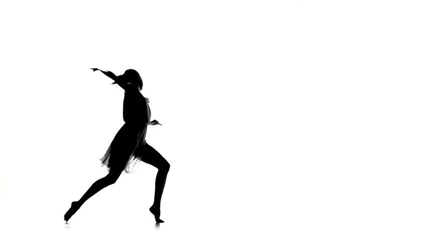 Beautiful woman with ponytail dance modern contemporary style on white, silhouette, slow motion