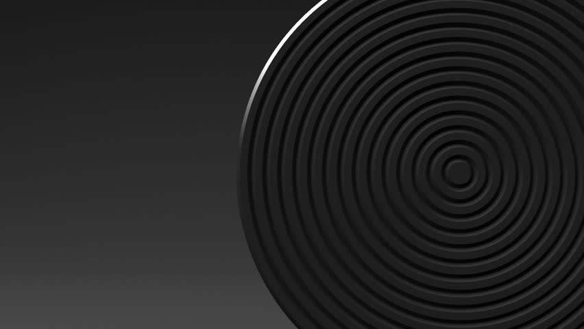 Spotlighted White Circle Abstract On Black Text Space. Loop able 3D render Abstract Animation.