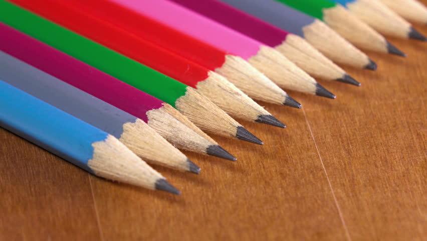 Black lead pencils lie in a row | Shutterstock HD Video #15145150