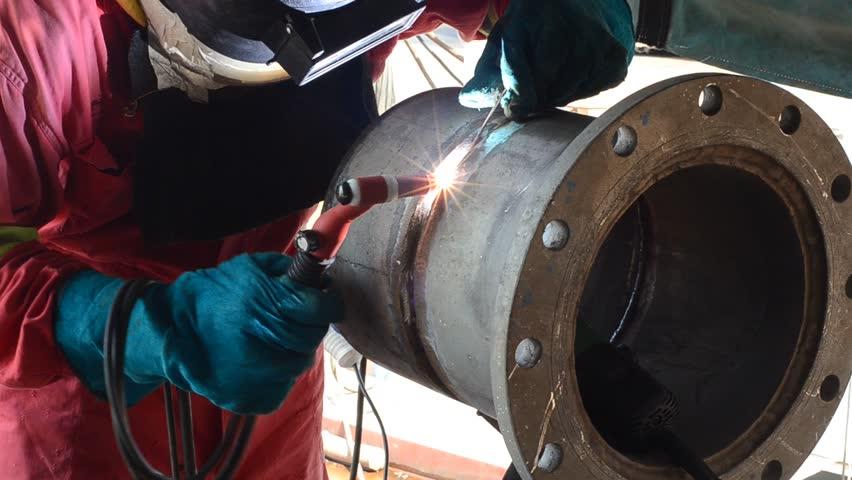 Industrial welding pipe using TIG method