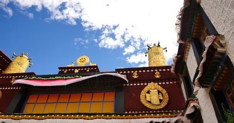 4k closeup of The Jokhang Temple In Lhasa,Tibet,white clouds in blue sky. gh2_09626_4k