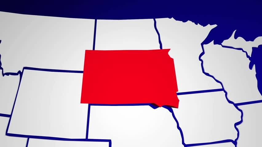 South Dakota Sd United States Of America 3d Animated State Map Hd Stock Footage Clip