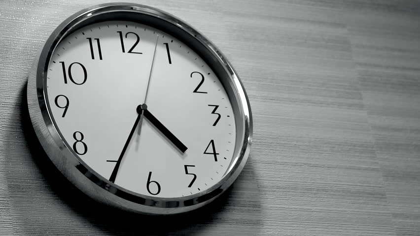 Wall Clock In The Office Stock Footage Video (100% Royalty