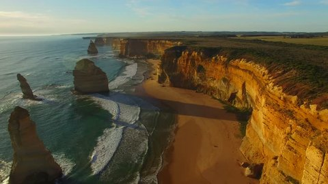 Aerial view of Twelve Apostles at sunset, Victoria - Australia
