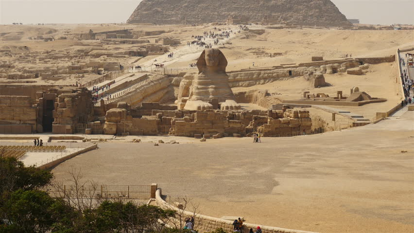Pan Up - Great Pyramids & Sphinx Daytime at Giza - Egypt