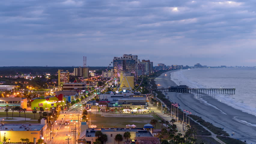 MYRTLE BEACH, SOUTH CAROLINA - MAY 21, 2015: The beachfront skyline of Myrtle Beach in the morning.