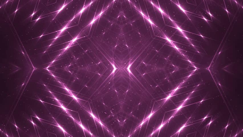 VJ Fractal pink kaleidoscopic background. Background magenta motion with fractal design. Disco spectrum lights concert spot bulb. Light Tunnel. #15231610