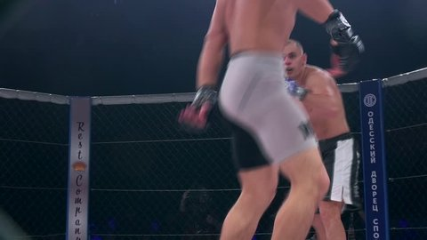 "Odessa, Ukraine - 24 November 2015: Athletes in the ring extreme Sport mixed martial arts competition tournament series ""World MMA Network MAXMIX"". The dramatic moment of battle punches"