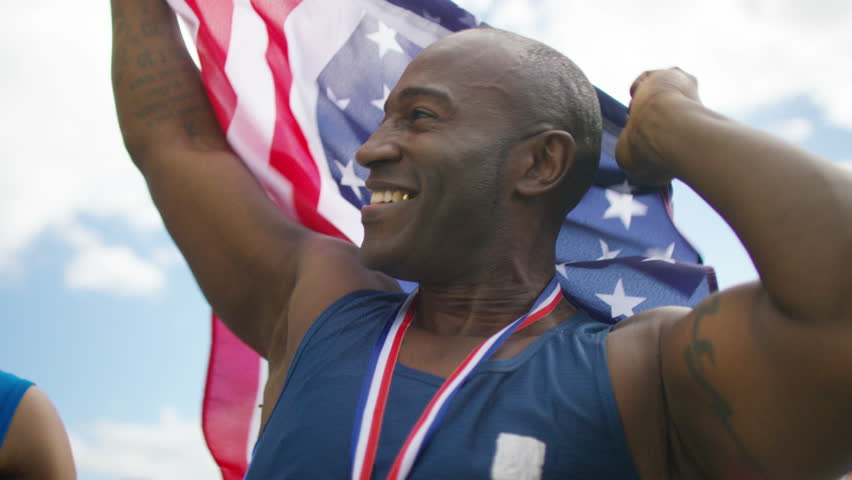 4K USA athletics team (disabled & able bodied) celebrate a victory