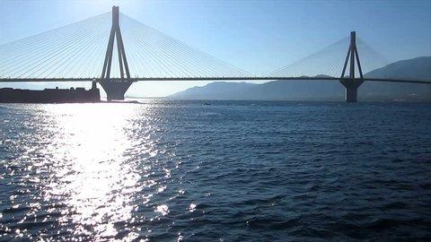 Departure and bridge 3                                             Travelling along the suspension bridge in Rio-Antirrio, Greece