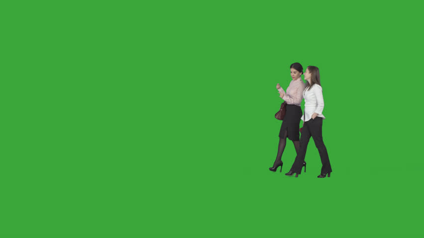 Two stylish business women, professionals, are chatting about their job & going at work to office. Green screen footage. File format - .mov, codec PNG+Alpha. Shutter angle -180 (native motion blur) #15307450