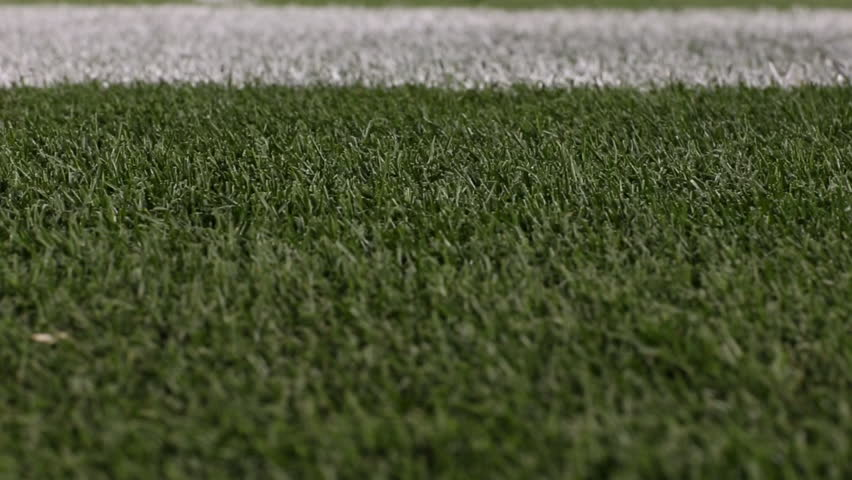 Tracking shot of grass on a football field with white lines / Pittsburgh, Pennsylvania - USA., August, 2014
