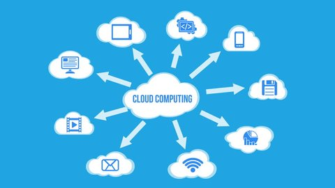 Cloud Computing concept background with a lot of clouds and icons flying on blue background. Alpha matte channel included. Cloud data video available in 4K FullHD and HD. 2D flat render footage.
