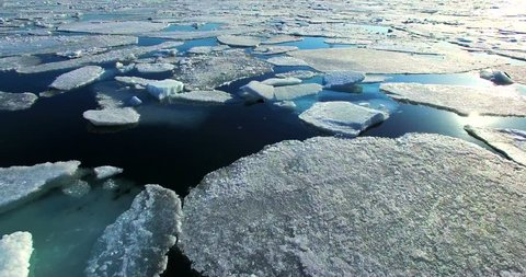 Flying over Arctic Ice Floes.