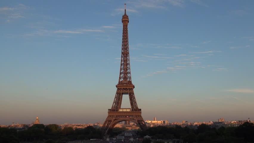 PARIS, FRANCE, JULY 2015 - Time Lapse Sunset Eiffel Tower Paris Central Landmark Visited Romantic Place | Shutterstock HD Video #15438730