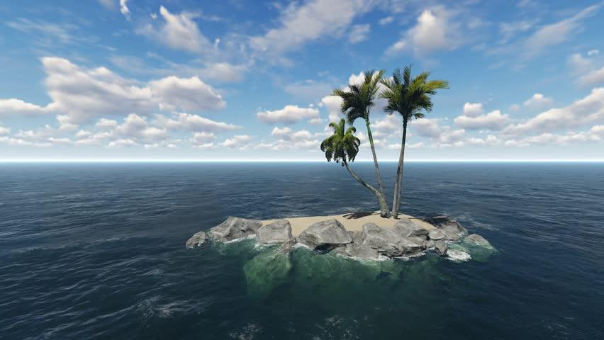 Hd Coconut Tree Seaside Landscape Nature Wallpaper Living: Stockvideo Von Island In The Ocean. Daytime Seascape