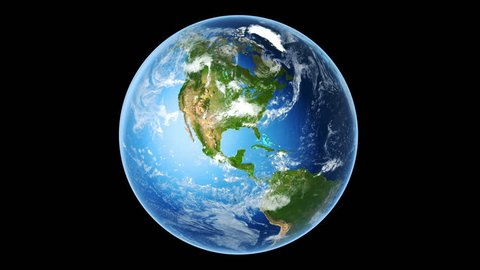 4K Realistic Earth Rotating on Black (Loop). Globe is centered in frame, with correct rotation in seamless loop. Texture map courtesy of NASA.