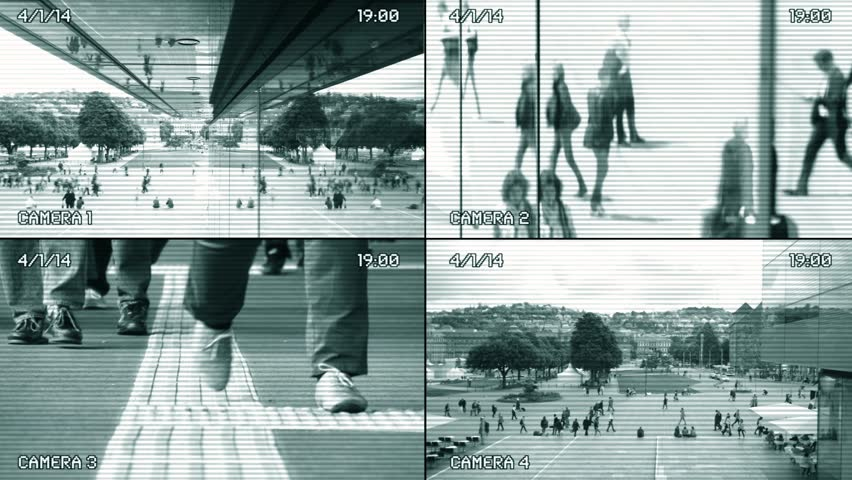 split screen surveillance camera background. cctv security monitoring. people walking in the city street