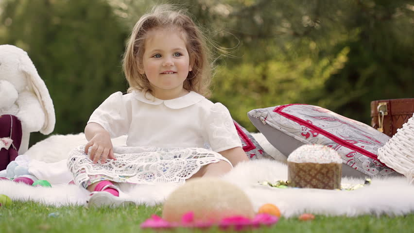 47d06239ce48 Cute Little Smiling Baby Girl Stock Footage Video (100% Royalty-free ...