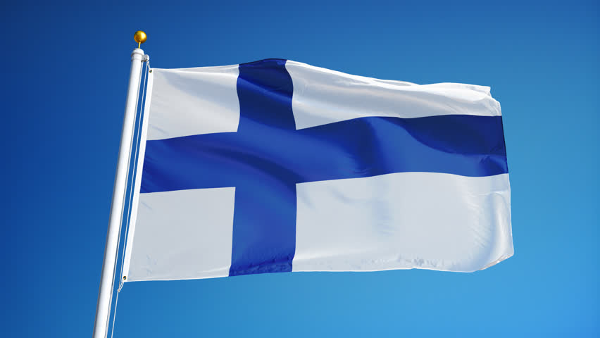 Finland flag waving in slow motion against blue sky, seamlessly looped, close up, isolated on alpha channel with black and white luminance matte, perfect for film, news, digital composition