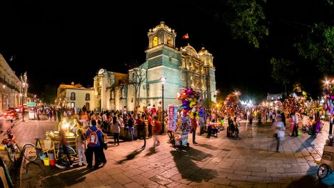 OAXACA - 22 FEB: Timelapse view of Oaxaca city in Mexico by Night. Oaxaca de Juarez is the capital of Oaxaca state and a popular tourism destination on 22 February 2014 in Oaxaca, Mexico