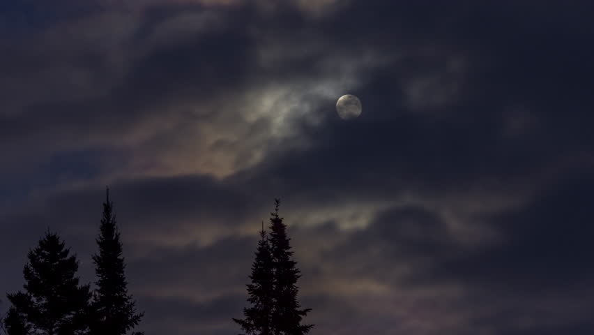 Late Dusk Dramatic and Ethereal Moonrise behind Windy Clouds and Over Treeline on a Long Lens 4K UHD Ultra HD Timelapse