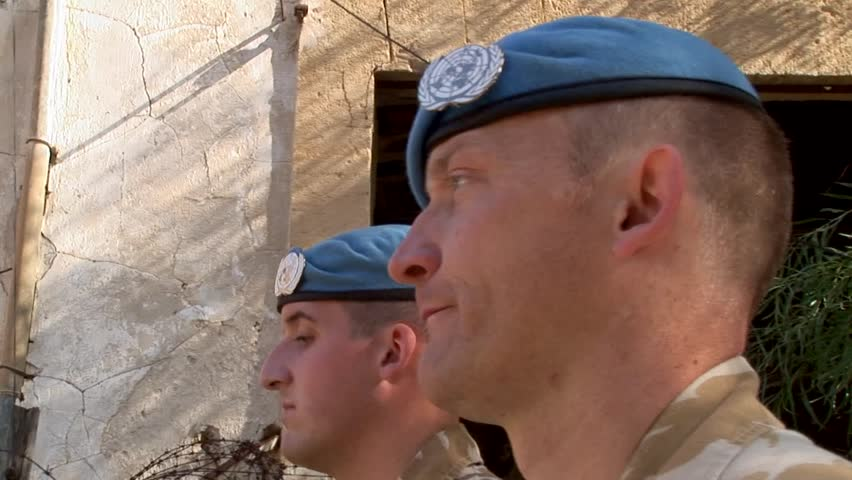 NICOSIA, CYPRUS - OCTOBER 24, 2005: British-UK UN-United Nations peacekeeping forces patrol in Cyprus
