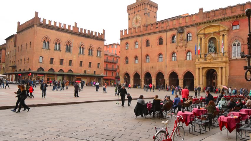 BOLOGNA, ITALY - 30 MARTH 2016: Cafe at the Piazza Maggiore in Bologna | Shutterstock HD Video #15645880